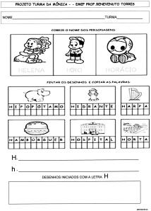 Alfabeto da Turma da Mônica - H