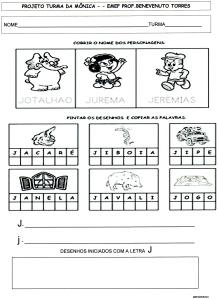 Atividades - Alfabeto da Turma da Mônica - J
