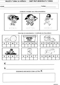 Atividades - Alfabeto da Turma da Mônica - K