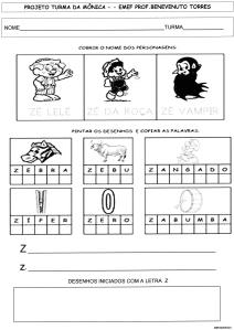 ATIVIDADES-S-Z-TURMA DA MÔNICA