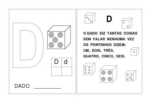 Alfabeto A-B-C-D-E Letras inciais das palavras-D