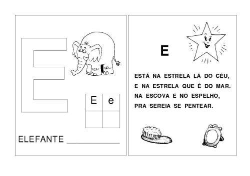 Alfabeto A-B-C-D-E Letras inciais das palavras-E
