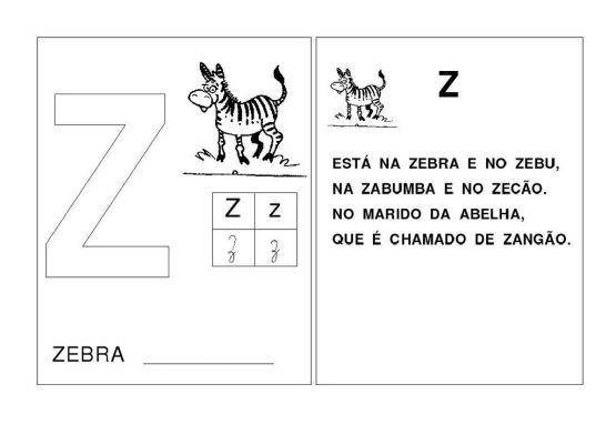 Alfabeto Z com as Letras iniciais das palavras