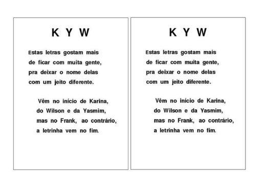 Alfabeto K-Y-W com as Letras iniciais das palavras