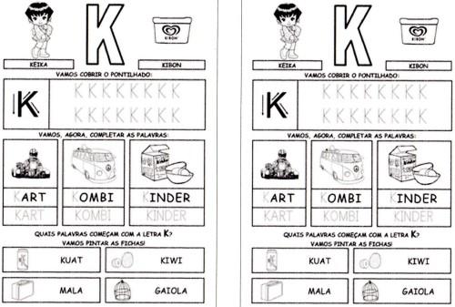 todas letras para caderno K