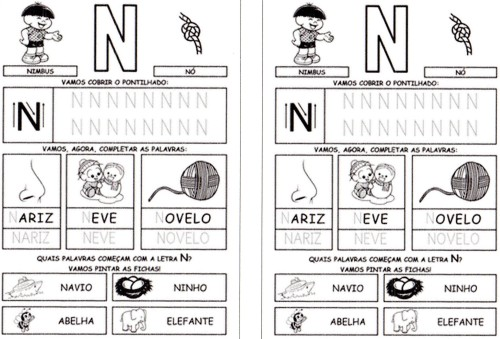 Alfabeto Turma da Mônica - Letra N