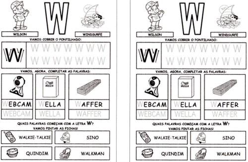 todas letras para caderno W