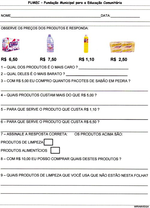 EJA-Projeto Supermercado - Resumo das atividades-Folha 3