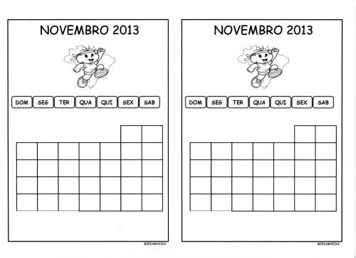 calendario de novembro aluno